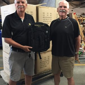 Stan and Bruce backpack donation